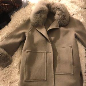 Grey fur warp coat